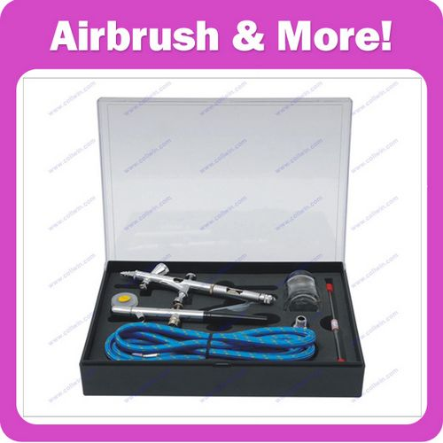 Airbrush Kit with 2pcs Airbrushes:1pc Gravity+1pc Siphon Feed